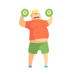 Funny Chubby Man Character Doing Gym Workout vector image vector image