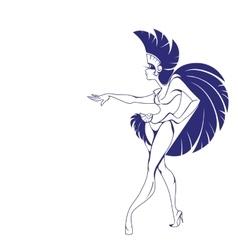 silhouette design of dancing samba queen vector image vector image