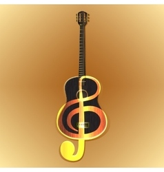 acoustic guitar with a treble clef vector image