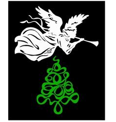 Angel tree christmas vector