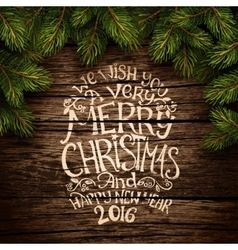 Christmas typography on wooden texture vector image vector image