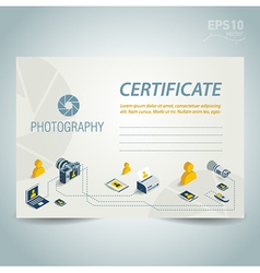 photography certificate design photo camera vector image