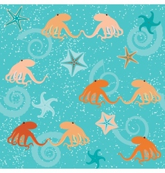 Seamless pattern with octopuses shells and stars vector image vector image