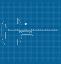 caliper blue outline drawing vector image