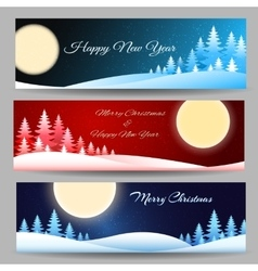 Merry Christmas Banner Set vector image