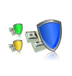 shield and money icon set - security protection vector image vector image