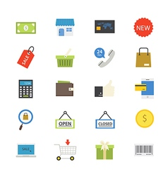 Shopping and Online Shopping Flat Icons color vector image vector image