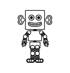 Silhouette retro robot toy flat icon vector