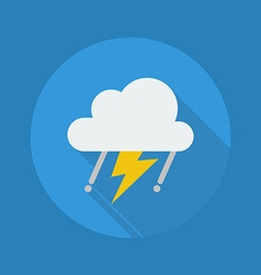 Weather Flat Icon Rainy With Thunder vector image vector image