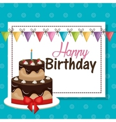 card birthday and bunting flags graphic vector image
