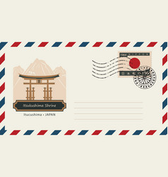 Envelope with postage stamp and itsukushima shrine vector