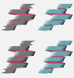 Four striped ribbons vector image