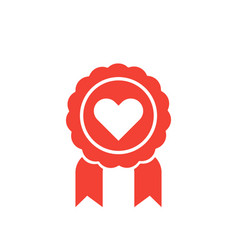 medal for likes icon with heart vector image