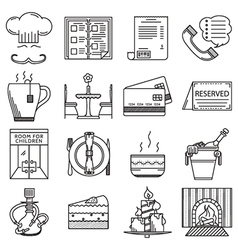 Restaurant black line icons collection vector image
