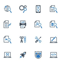 SEO and Internet Marketing Icons Set 1-Blue Series vector image vector image