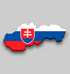 3d isometric map slovakia with national flag vector
