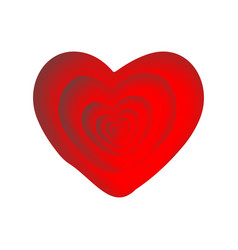a heart of red stylized as if gouache and vector image
