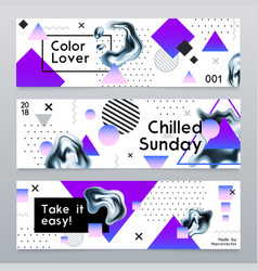 Abstract banners with chrome elements vector