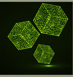 abstract cubes with glowing particles vector image
