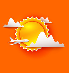 Airplane is flying through the clouds vector