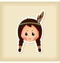 American Indian children icon Thanksgiving day vector image