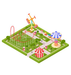 Amusement park design composition vector