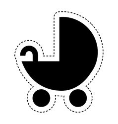 baby cart silhouette isolated icon vector image