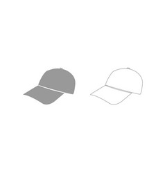 baseball cap grey set icon vector image