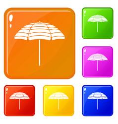 Beach umbrella icons set color vector