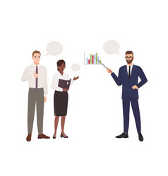 bearded man in office suit making presentation in vector image