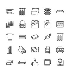 Bedding flat line icons orthopedics mattresses vector