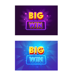 big win banners casino or online gambling games vector image