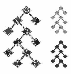 binary tree mosaic icon uneven elements vector image