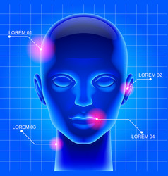 Blue futuristic artificial head vector
