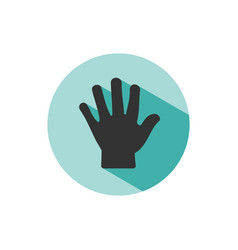 body senses tact hand icon with shade on green vector image