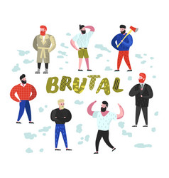Brutal man flat characters collection bearded vector