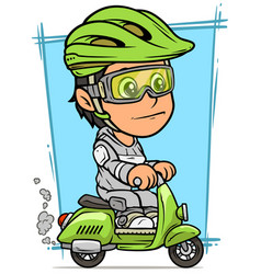 cartoon brunette girl character riding on scooter vector image