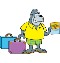 Cartoon gorilla wearing shorts with suitcases vector