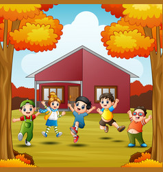 Cartoon happy kids in front house at autumns seaso vector