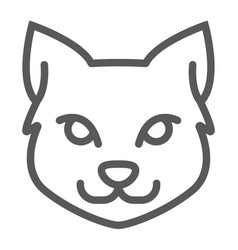 cat line icon halloween and pet animal sign vector image