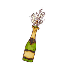champagne bottle with vector image