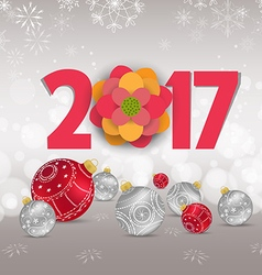 Christmas and Happy new year 2017 with red bauble vector