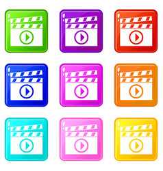clapperboard for movie shooting icons 9 set vector image