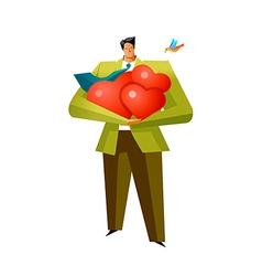 Close-up of man holding heart shape vector image