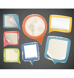 Collectionn of vintage paper speech clouds vector image
