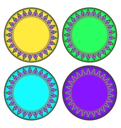 Colorful Thai style Kra Jung circle frame vector