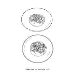 creamy ham and mushroom pasta hand draw sketch vector image
