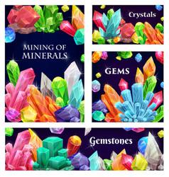 crystal gems gemstones or mineral crystallization vector image