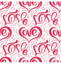 cute calligraphy hearts seamless pattern vector image