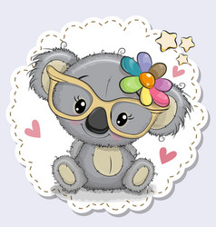 Cute koala girl in yellow eyeglasses vector